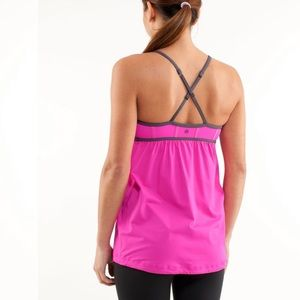 lululemon athletica Tops - Lululemon Rehearsal Tank Paris Pink Grey Size 8